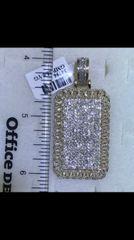 14K Solid Yellow Gold Real Diamond Dog tag Pendant 34796