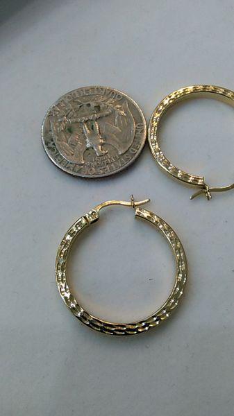 Hoop earrings, lady earrings, yellow Gold, 10 K.,.,xc