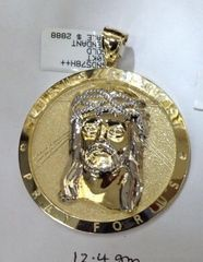10K Solid Yellow Gold Jesus Round Pendant