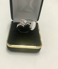 10k Solid White Gold Real Diamond Lady Rings, E126