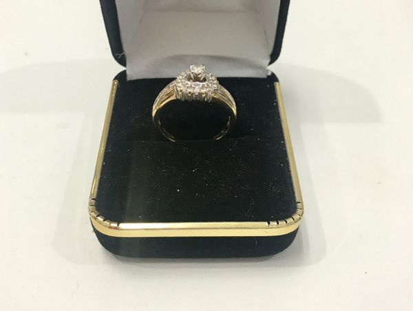 10KT Solid Yellow Gold, Real Diamond Lady Rings, E143