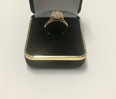 14KT Solid Yellow Gold, Real Diamond Lady Rings, E158