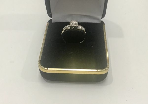 14KT Solid White Gold, Real Diamond Lady Rings, E159