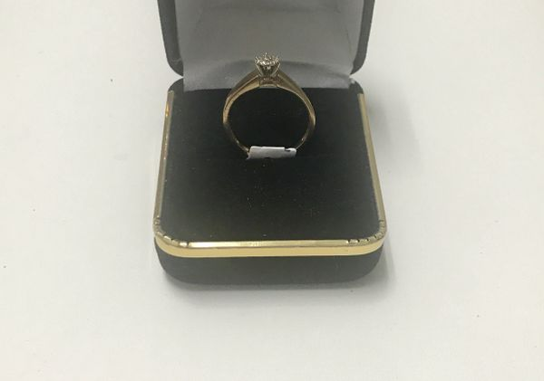 10KT Solid Yellow Gold, Real Diamond Lady Rings, E160