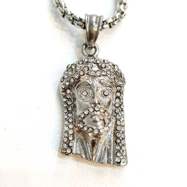 Pure Stainless steel chains and charm Jesus face with crystal W2266