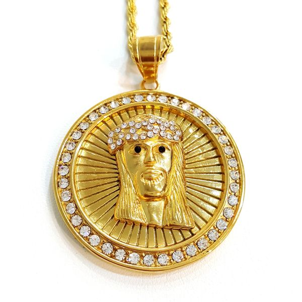 Pure Stainless steel chains and charm Gold tone Jesus face with Crystals W2289