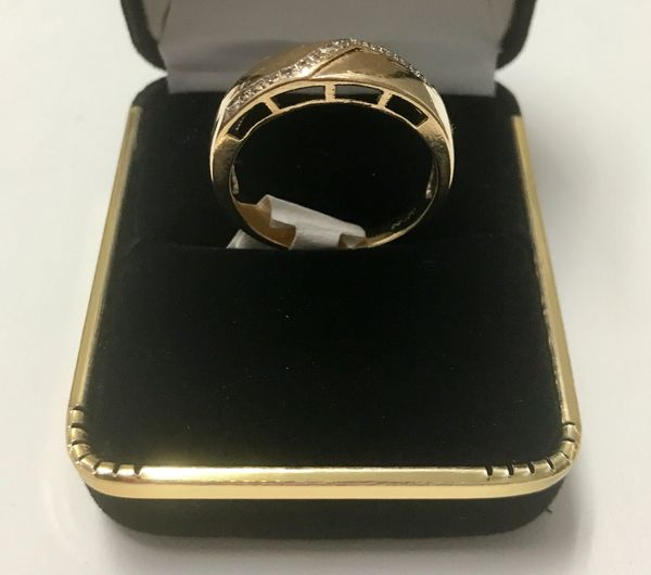 10KT Solid Yellow Gold, Real Diamond Man Rings, E180