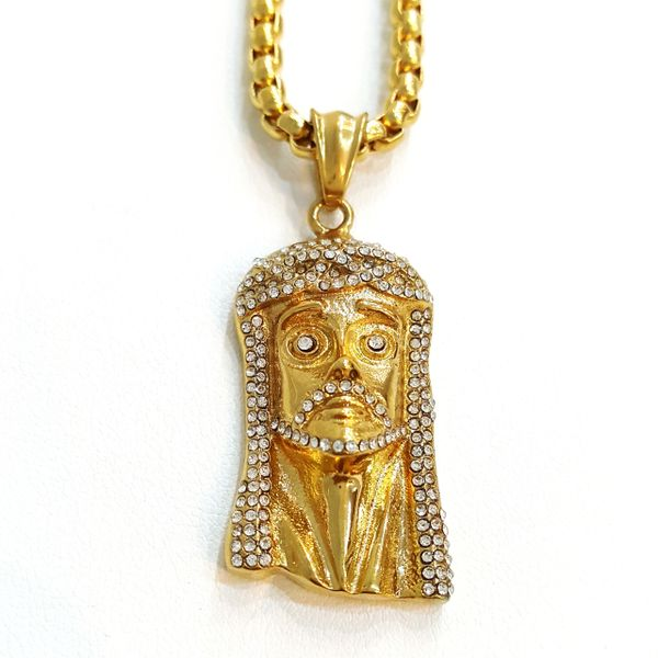 Pure Stainless steel chains and charm gold tone Jesus face with Crystal's W22955