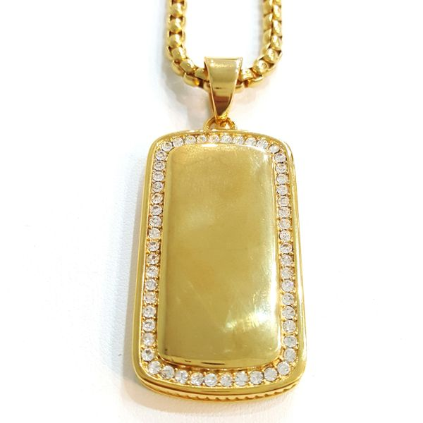 Pure Stainless steel chains and charm gold tone with Crystal's