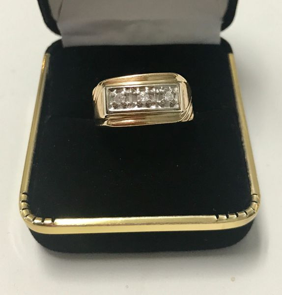 10KT Solid Yellow Gold, Real Diamond Man Rings, E182