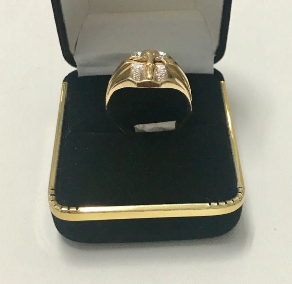 10KT Solid Yellow Gold, Real Diamond Man Rings, E184