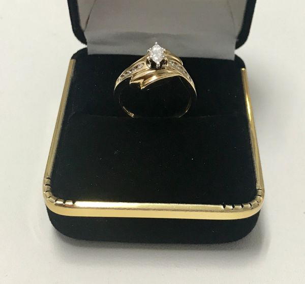 10KT Solid Yellow Gold, Real Diamond Man Rings, E185