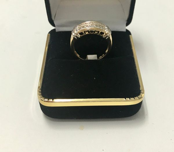 10KT Solid Yellow Gold, Real Diamond Man Rings, E189