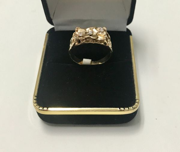 10KT Solid Yellow Gold, Real Diamond Man Rings, E196