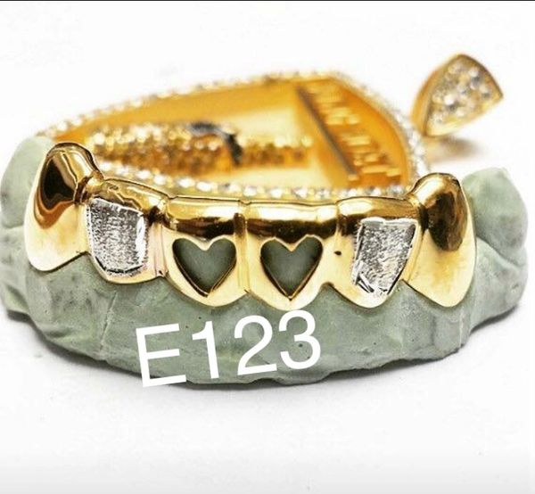 6 Teeth E123 heart open face with diamond cuts