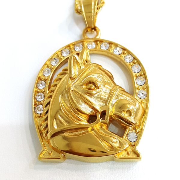 Pure Stainless steel chains and charm gold tone with Crystal's W2885