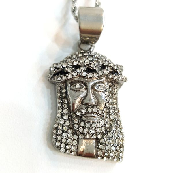 Pure Stainless steel chains and Jesus face charms with Crystal's W2819- 22