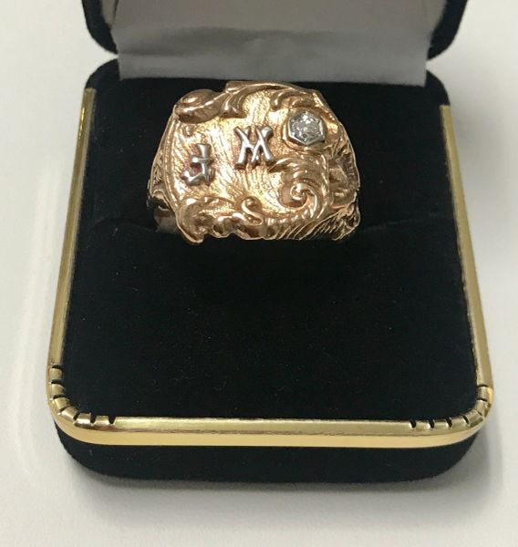 10KT Solid Yellow Gold, Real Diamond Man Rings, E200