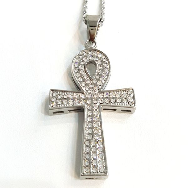 Pure Stainless steel chains and charm White tone with Crystal's W28x4x