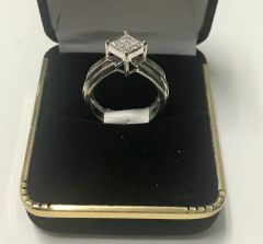 14KT Solid White Gold, Real Diamond Lady Rings, E205