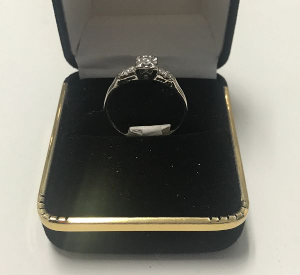 14KT Solid White, Real Diamond Lady Rings, E207