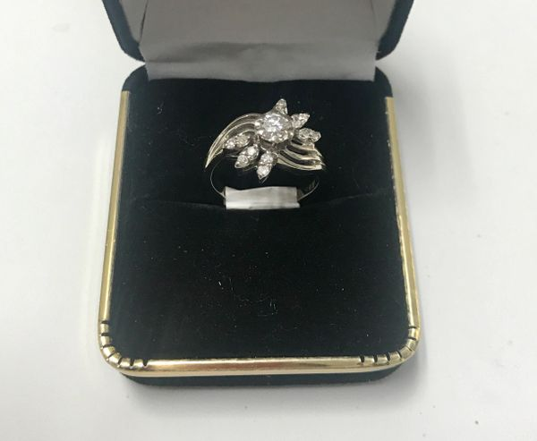 14KT Solid White Gold, Real Diamond Lady Rings, E208