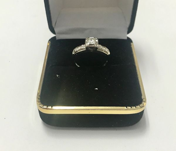 14KT Solid White Gold, Real Diamond Lady Rings, E210