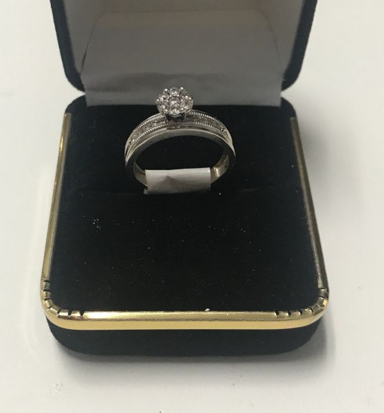 10KT Solid White Gold, Real Diamond Lady Rings, E212