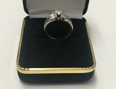 14KT Solid White Gold, Real Diamond Lady Rings, E214