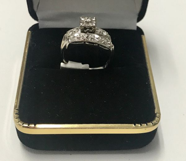 14KT Solid White Gold, Real Diamond Wedding Set Lady Rings, E215