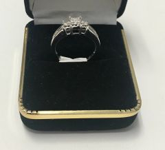 10KT Solid White Gold, Real Diamond Lady Rings, E216