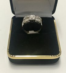 14KT Solid White Gold, Real Diamond Lady Rings, E218