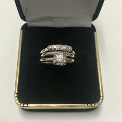 14KT Solid White Gold, Real Diamond Wedding Set Lady Rings, E219