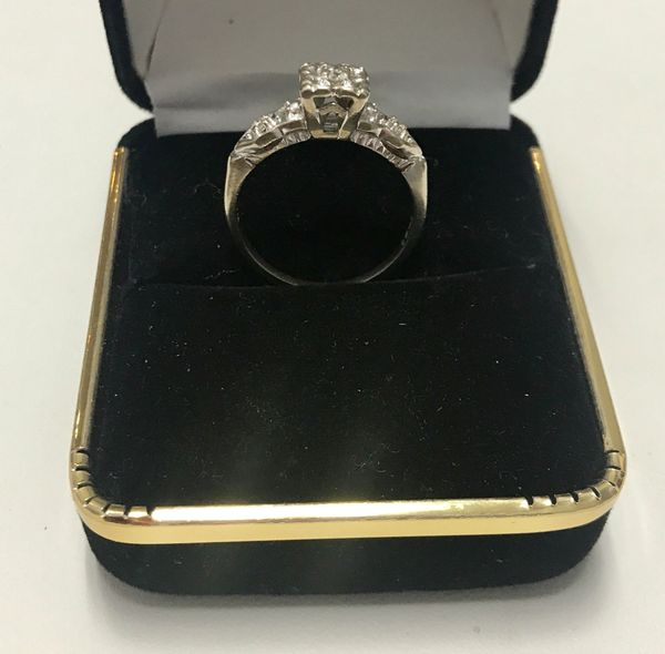 14KT Solid White Gold, Real Diamond Lady Rings, E222