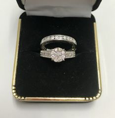 10KT Solid White Gold, Real Diamond Wedding Set Lady Rings,E225