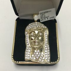 10KT Solid Yellow Gold, Jesus Face Pendant, E234