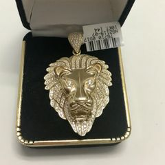 10KT Solid Yellow Gold Small Lion Face Pendant,E235
