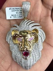 10kt solid yellow gold lion face charm