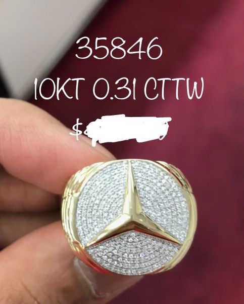 10k Solid Yellow Gold Mercedes Benz man diamond ring