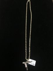 10k sold yellow gold rope chain with gun charm