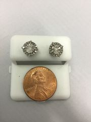 10K Round White Diamond VS1 Earrings