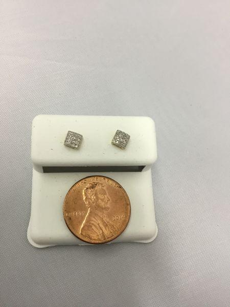 10K Tiny Square White Diamond VS1 Earrings