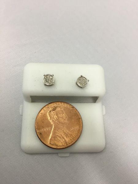 10K Miny Round White Diamond VS1 Earrings