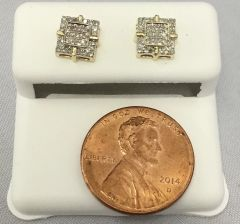 10K Yellow Gold Square Round White Diamonds VS1 Earrings