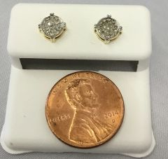 10K Yellow Gold Round White Diamond VS1 Earrings