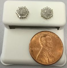 10K Yellow Gold Hexagonal White Diamond VS1 Earrings