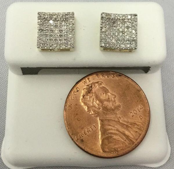 10K Medium Size Square White Round Diamond VS1 Earrings