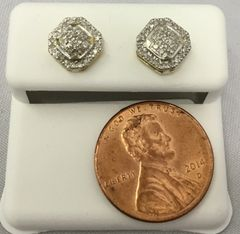 10K Octogonal shaped Yellow Gold White Round Diamond VS1 Earrings