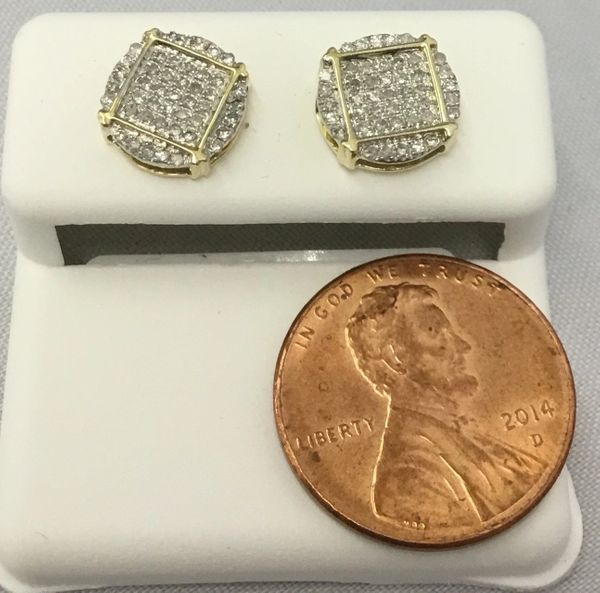 10K Circular And Square In The Middle Yellow Gold Round White Diamond VS1 Earrings