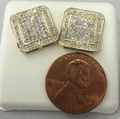 10K Yellow Gold Cruved Square Round White Diamonds VS1 Earrings